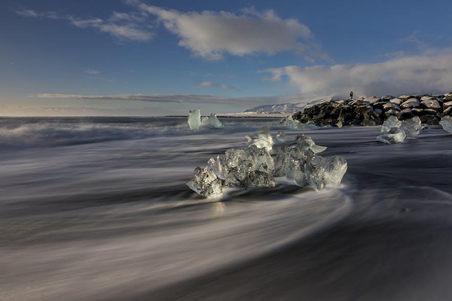 ice cubes on the beach