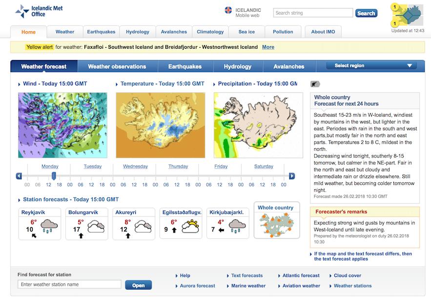 冰島Vedur 天氣預報網站