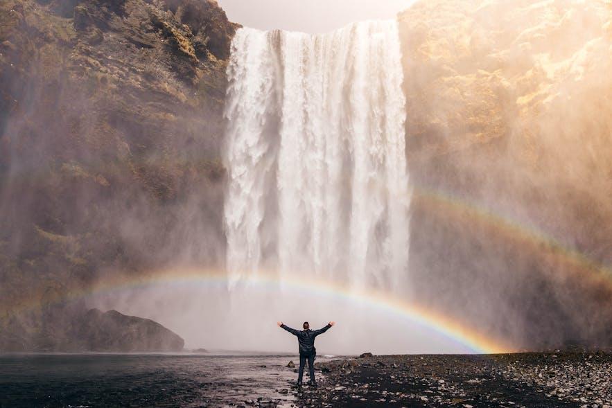 冰島南部彩虹瀑布--skogafoss