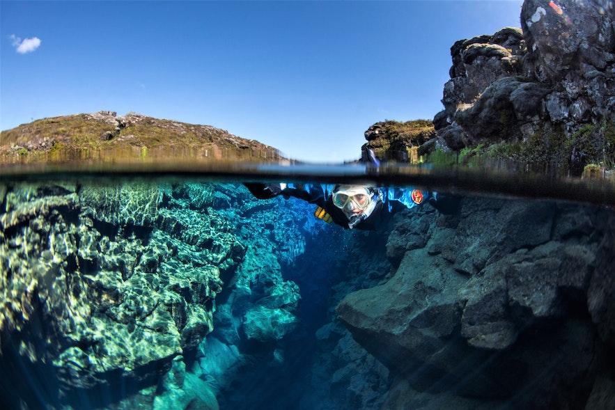 在冰島最清澈的水域浮潛