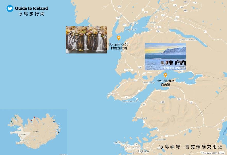 冰島雷克雅維克附近的峽灣地圖