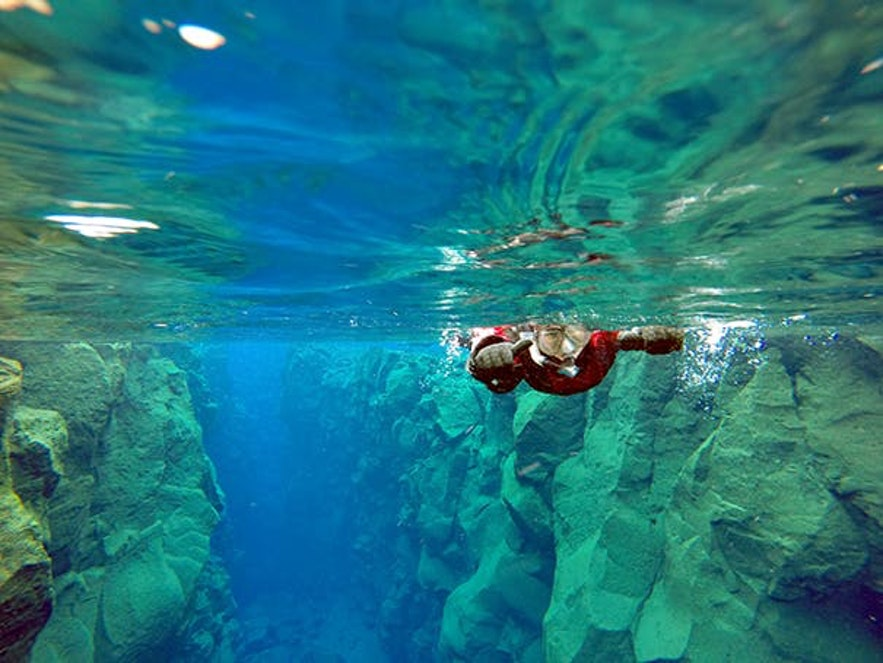 在冰島清澈的水域浮潛