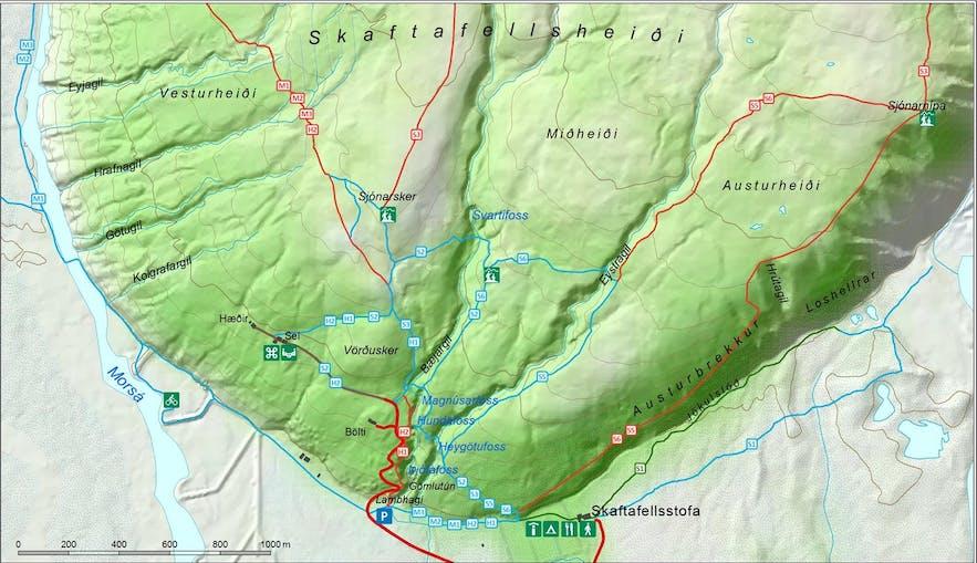 Carte du parc et des sentiers de randonnée à Skaftafell