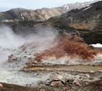 Steam rising up from the geothermal area of Landmannalaugar in the Icelandic Highlands.