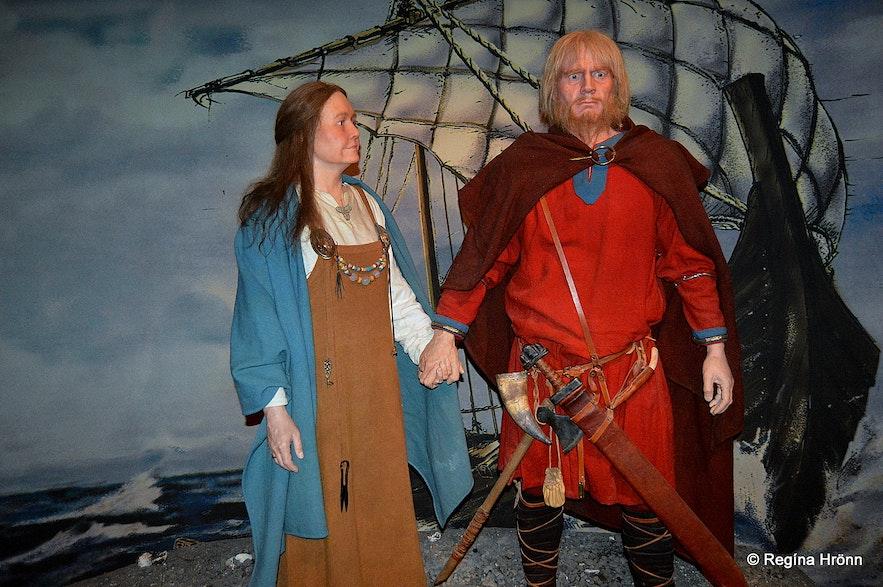 Ingólfur Arnarson and his wife Hallveig at theSaga Museum in Reykjavík