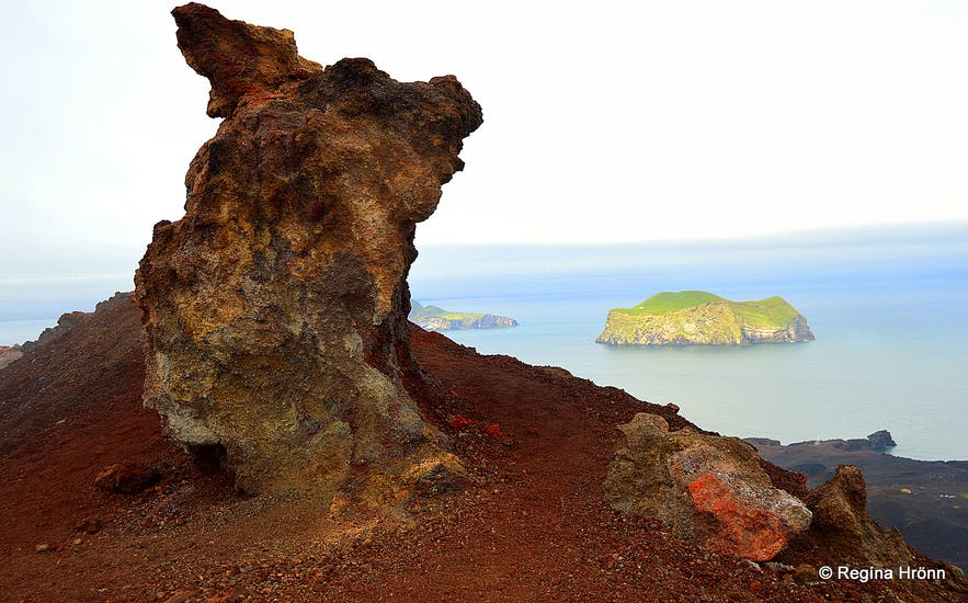 A breathtaking view from the Top of Mt. Eldfell Volcano in the Westman Islands