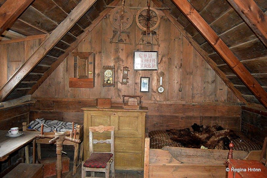 Inside Skógar turf house in South-Iceland