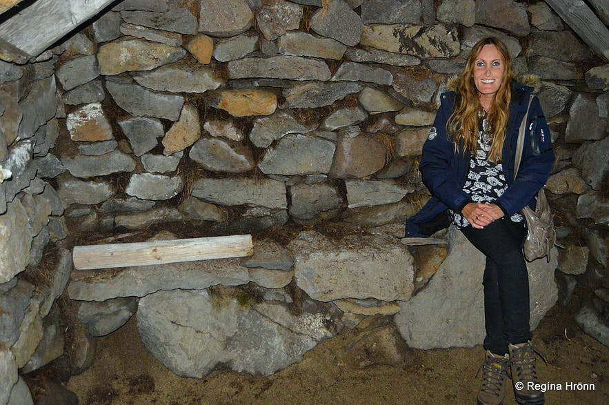 The oldest turf outhouse in Iceland - Hesthúsið á Hólum in the Westfjords inside