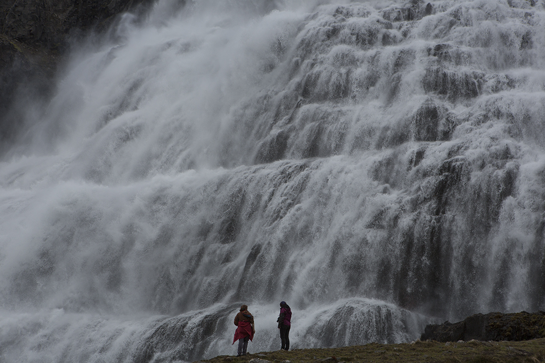 "Dynjandi (meaning ""Thunderous"") is a series of waterfalls in the Westfjords and the largest of its kind in the region."