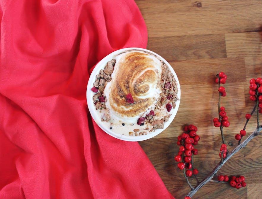Festive cup of coffee at Micro Roast inside Hlemmur Mathöll, Reykjavík's Food Hall