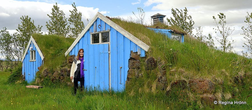 Turf outhouses at Vallarhjáleiga in Flóahreppur in South-Iceland