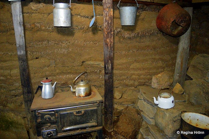 Inside Sænautasel turf house in East-Iceland
