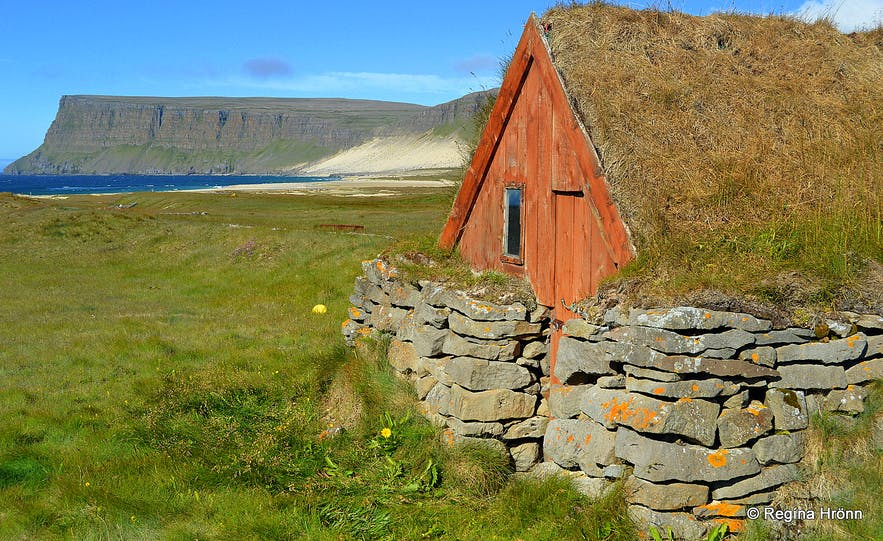 A turf outhouse at Kollsvík in the Westfjords of Iceland