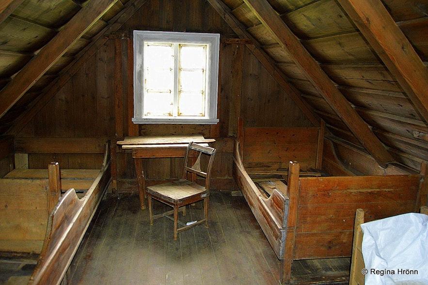 Inside Keldur turf house in South-Iceland