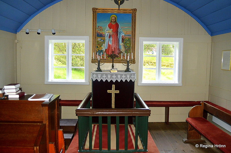 Hofskirkja turf church in South-Iceland inside