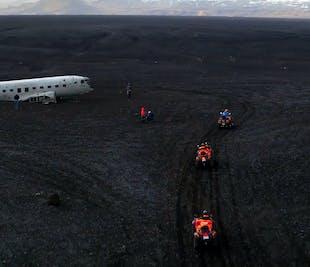 レイキャビク発|ATVで行くDC-3飛行機の残骸、ブラックサンドビーチ