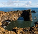 The Atlantic Ocean has eroded a massive hole into Dyrhólaey cliffs on the South Coast.