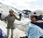 Breath in the crisp mountain air on a glacier hiking tour.