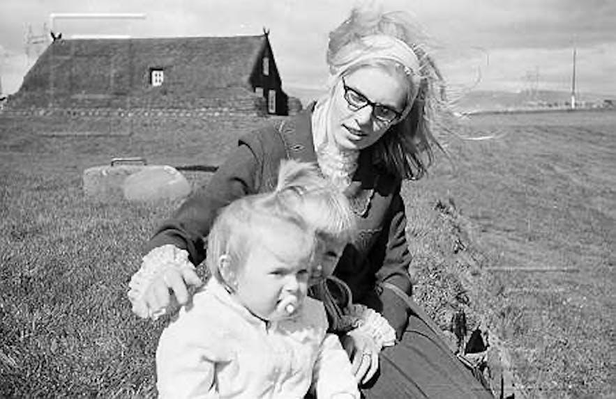 By Árbæjarkirkja turf church in SW-Iceland in 1966