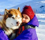 Cuddle up with the adorable Huskies after your ride on a dogsledding tour in the North of Iceland.