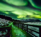 The sky turns bright green when the Northern Lights appear.