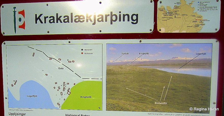 Krakalækjarþing ruins in East-Iceland information sign