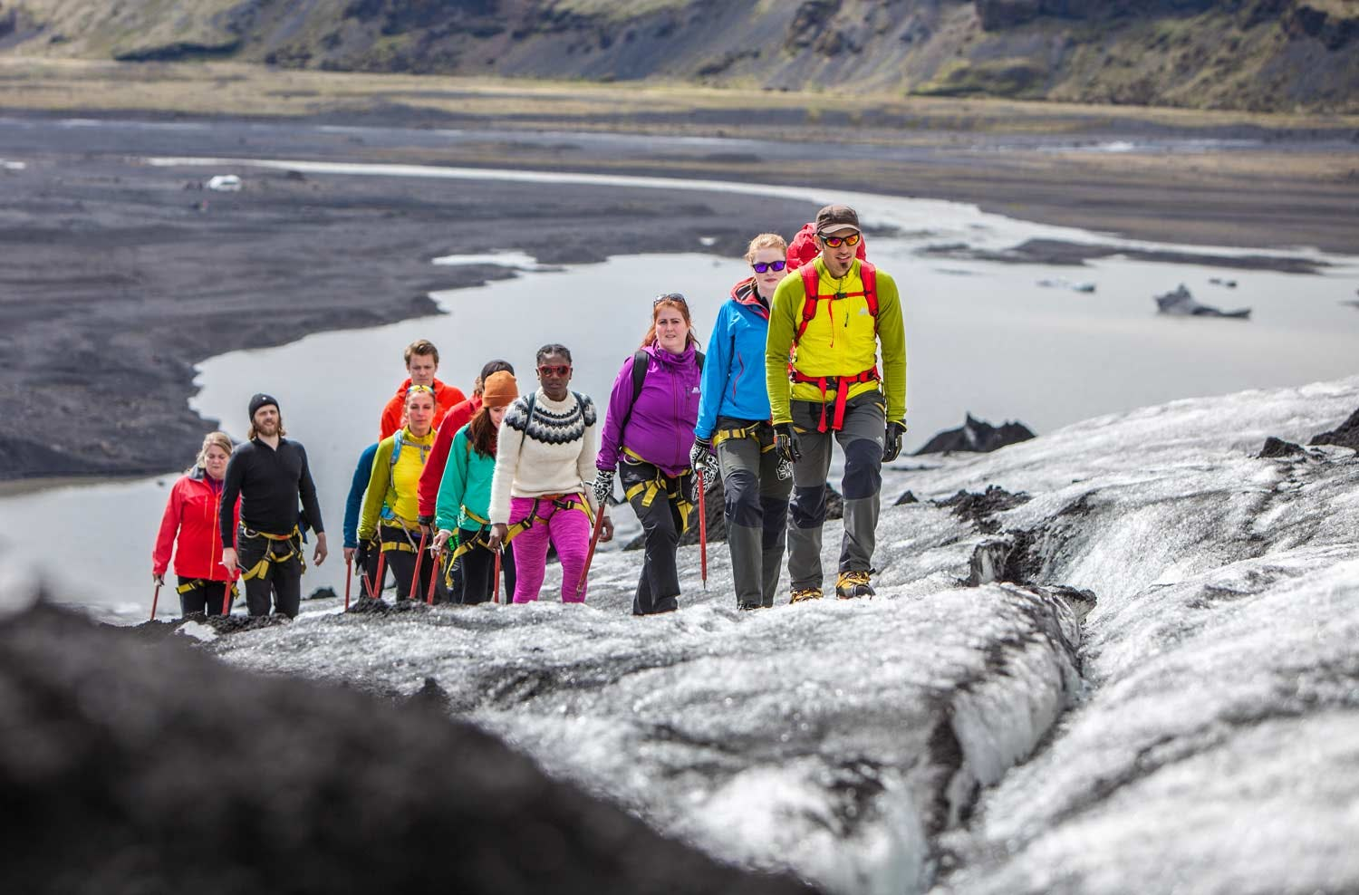 Hiking on Sólheimajökull glacier provides an easy introduction to the sport of glacier hiking.