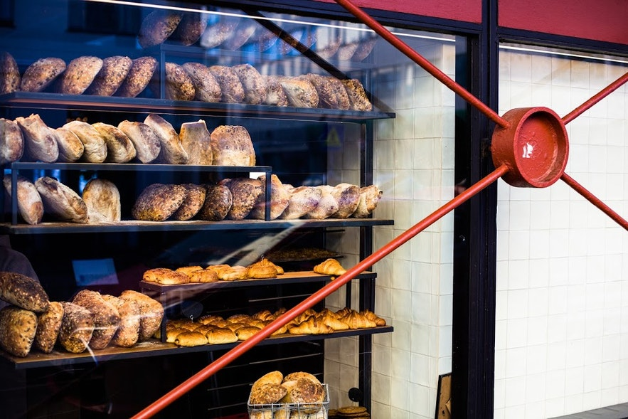 Freshly baked breads at Bread & Co at Hlemmur Food Hall in Reykjavík