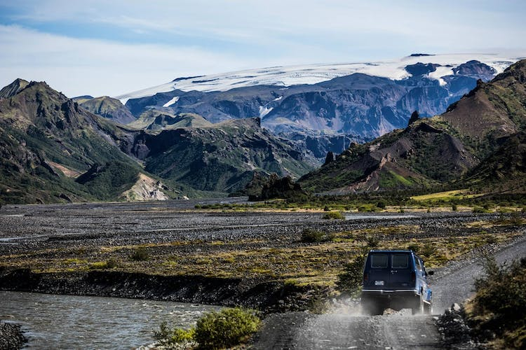 Drive past mighty glaciers and icy rivers to get to the beautiful Þórsmörk valley in the Icelandic Highlands.