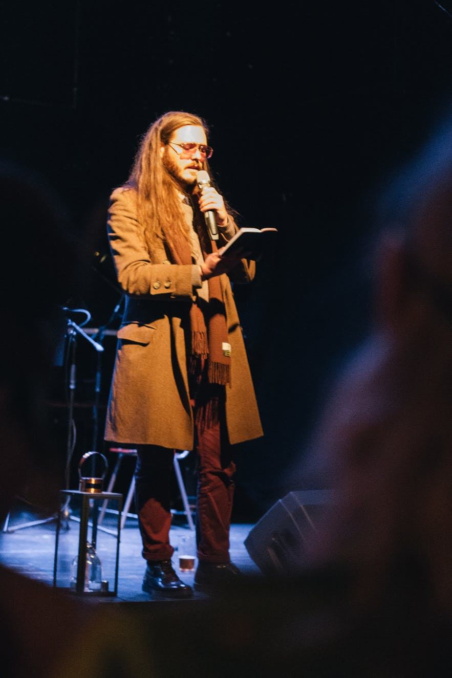 Kött Grá Pje was the main poet at Reykjavik's Poetry Brothel during their masquerade theme