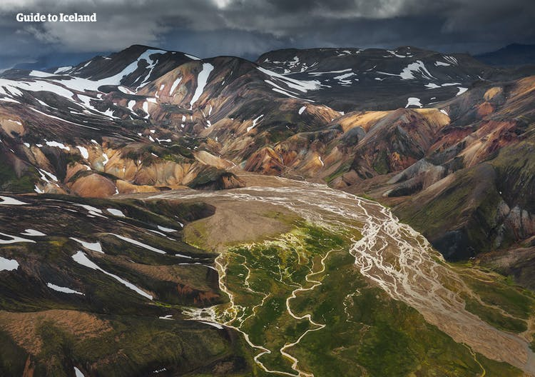 An aerial perspective over the stunning central highlands of Iceland.