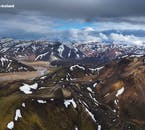 An aerial shot of Landmannalaugar geothermal area in the Central Highlands of Iceland.