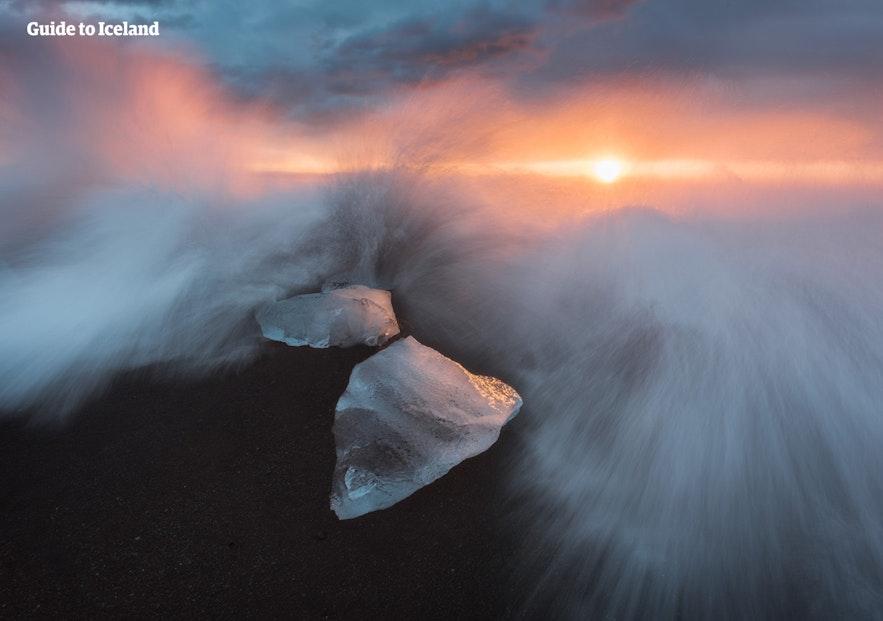 Na diamentowej plaży można zrobić piękne zdjęcia