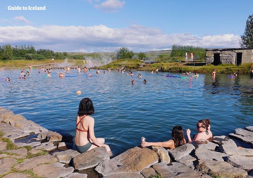 Enjoying the Secret Lagoon in Iceland