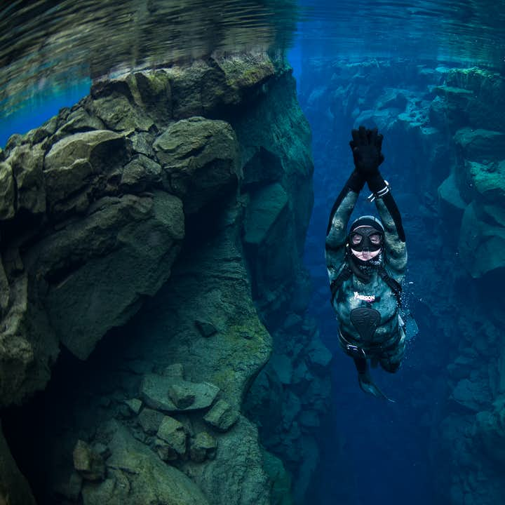 Freediving provides a great alternative to snorkelling or diving in Silfra Fissure.