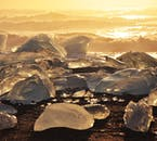 Diamond Beach, where icebergs wash up against Iceland's dark volcanic shores.