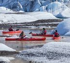 Add a kayaking tour on Sólheimajökull glacier lagoon to your South Coast trip.