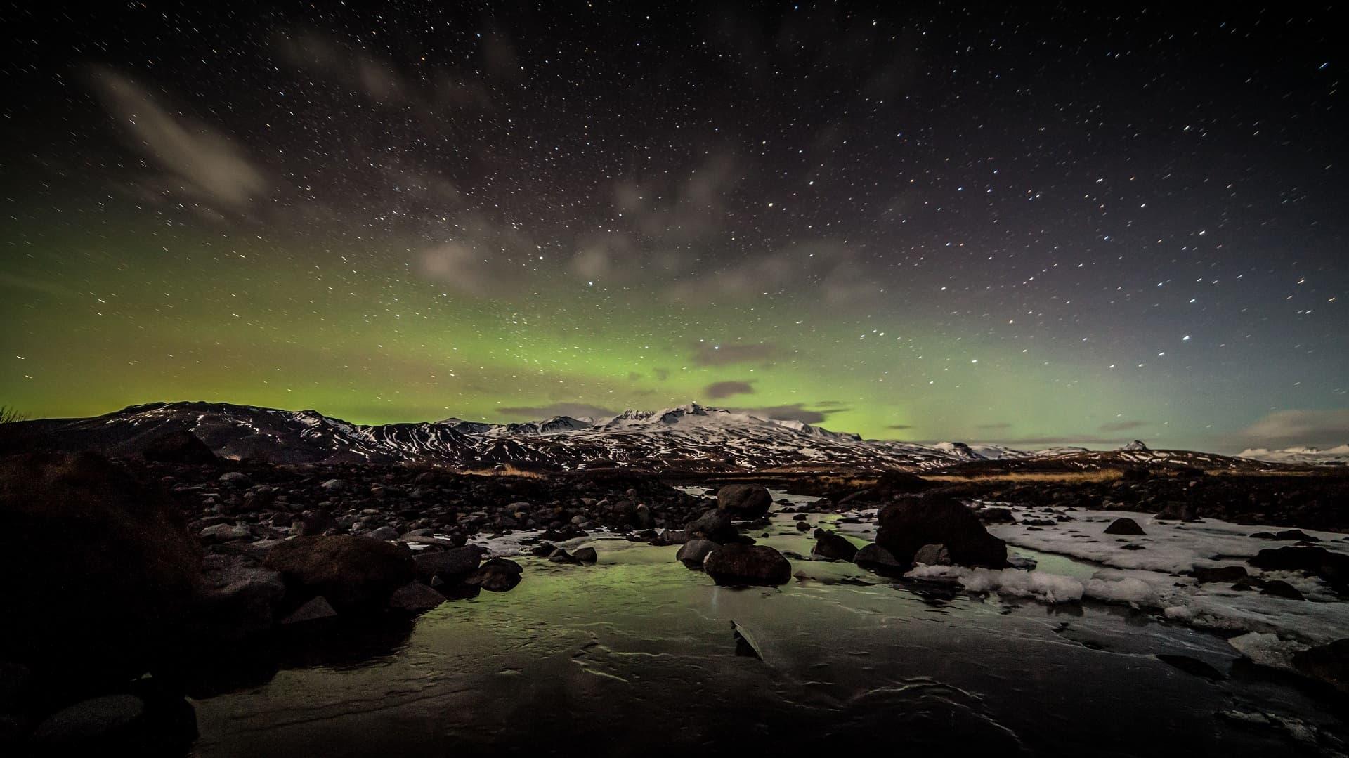 Northern Lights dancing over Þórsmörk Valley.