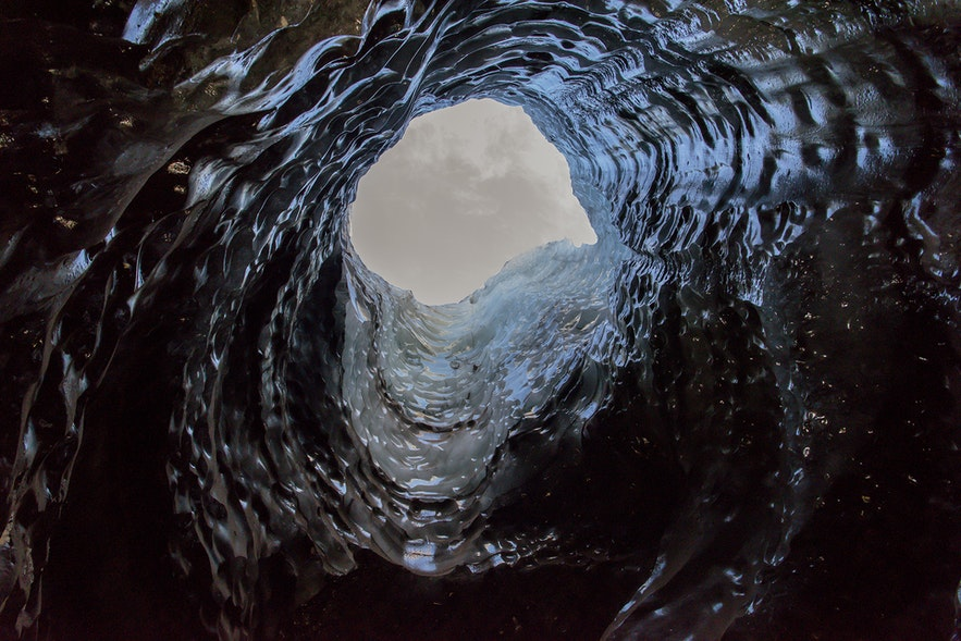 Looking up through the Ice Cave sinkhole.