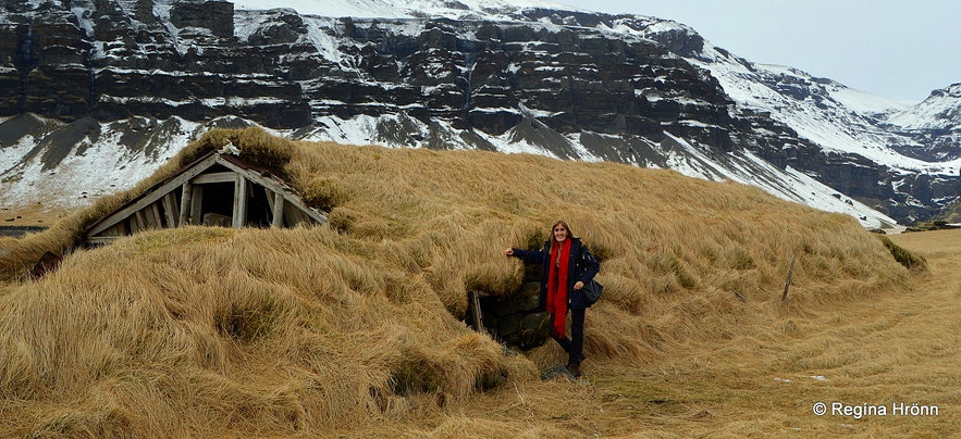 The turf outhouse by Mt. Lómagnúpur in South-Iceland