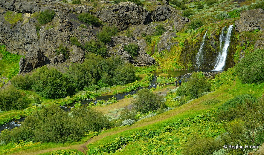Rauðá river and waterfall