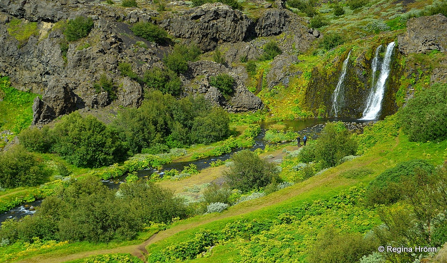 Rauðá river and waterfall at Gjáin