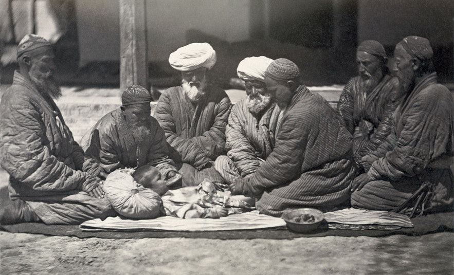 Male circumcision is thought to be the first ever planned surgery procedure in human history. Here, a circumcision is being performed in Asia, 1865–1872.