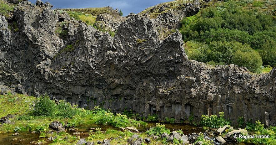 Basalt cliffs in  Gjáin
