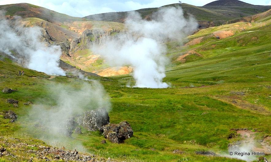 Hot springs in Reykjadalur valley