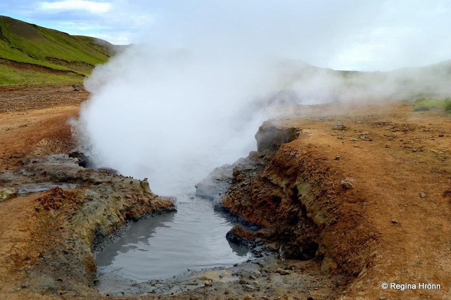 Mud pools in Reykjadalur valley