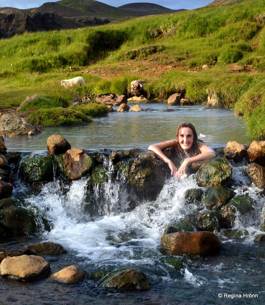 Reykjadalur Valley - Bathe in a Hot River in South Iceland! Regína soaking in a hot river