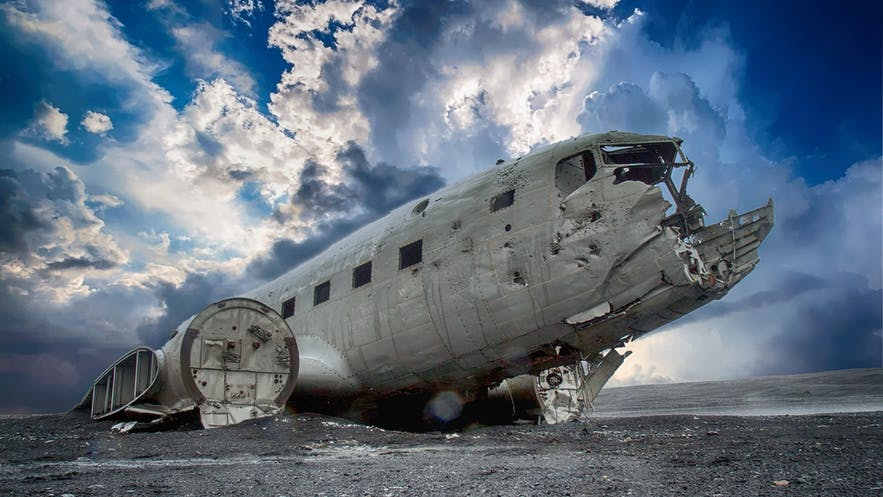 The DC Plane Wreck is a famous site located within the black sand desert of Solheimasandur, South Iceland. The wreckage is a particularly beloved spot by local and visiting photographers alike thanks to its sparse and wild surrounding landscape and its incredible visual contrast to the aircraft's gnarled metal.