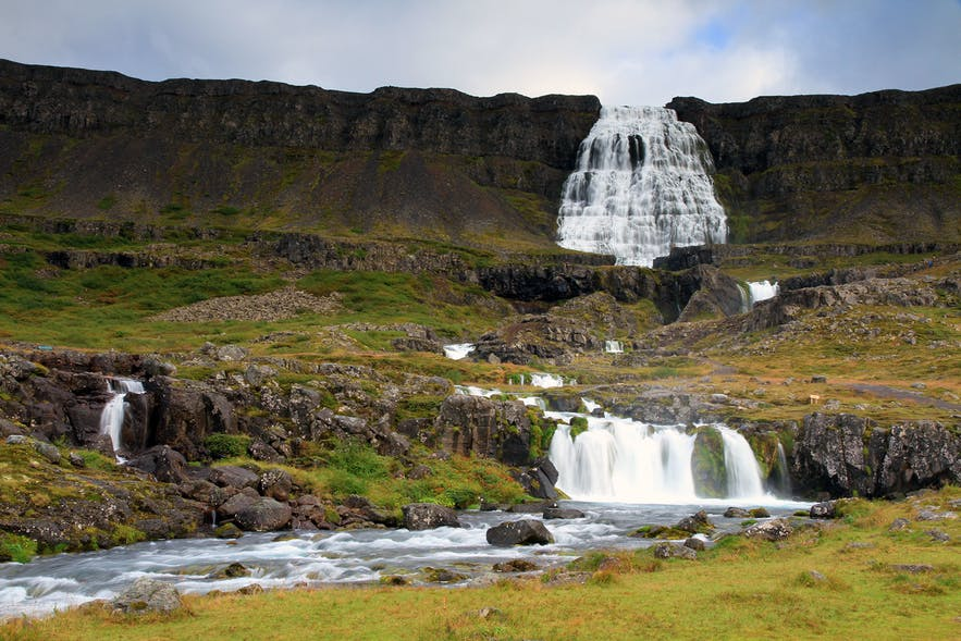 Camp under the Dynjandi Waterfall in the Westfjords