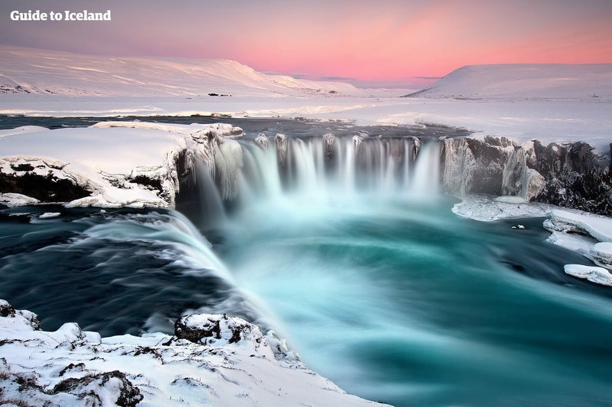 A true winter wonderland at Goðafoss waterfall in North Iceland